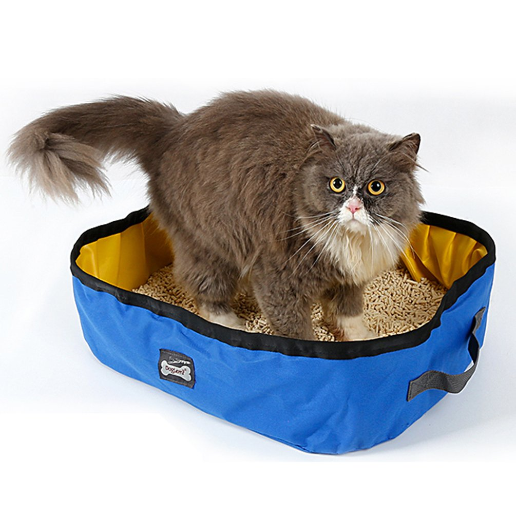 Petacc Foldable Cat Litter Box Portable Travel Pet Litter Pan Outdoor Cat Box, Blue