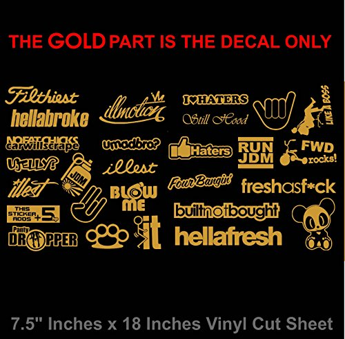 JDM Sticker Decal Pack / Lot of 27 Gold Vinyl Stickers Sticker Bomb Low Drift Race Dope XH1112