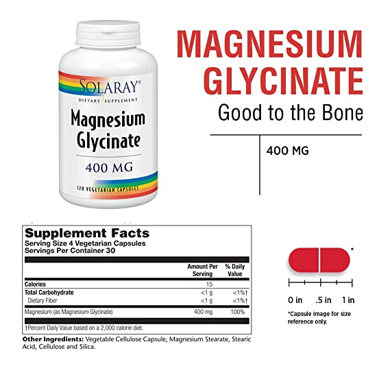 Solaray. Suplemento dietético, glicinato de magnesio, 400 mg por 4 cápsulas, 120 en total: Amazon.es: Salud y cuidado personal