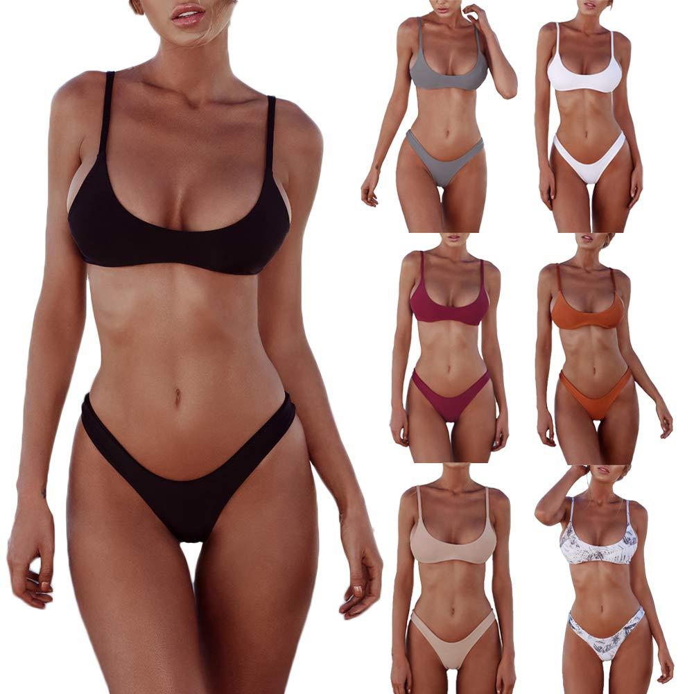 Damen Sexy Bikinis Set Mode Abnehmbare Riemchen Einfarbig Hohe Taille Schnelle Trockene Badebekleidung Set 2 Stücke S-XL