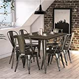DHP Fusion 7 Piece Dining Set in Antique Gun Metal