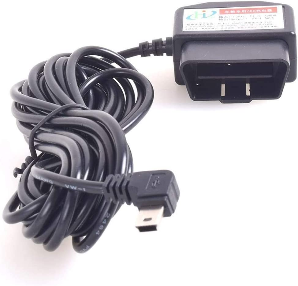 12-24V Coche OBD2 Dash Cámara DVR Carga Cable Mini USB Adaptador con botón de Interruptor 16Pin OBD2 Conector Directo Cargador para GPS Videocámara Tablet E-Perro teléfono - 11.5FT
