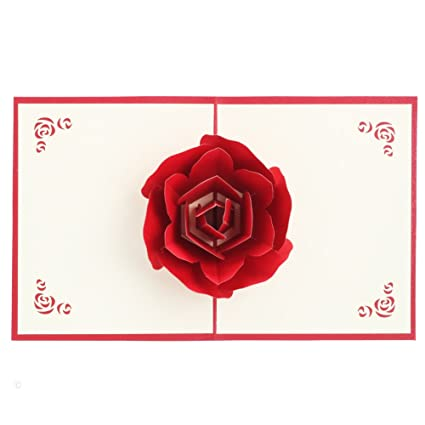 Amazon Birthday Card 3D Pop UP Rose Greeting Cards Fantastic