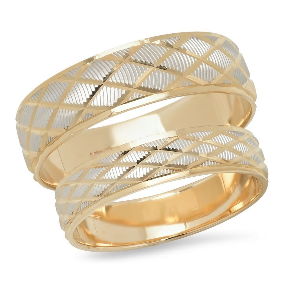 14K Solid White & Yellow Gold His & Her's Matching Diamond Pattern Wedding Band Ring Set (Choose a Size)