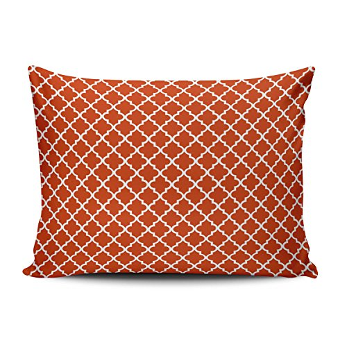 Romantic Burnt Orange Moroccan Pattern Decorative Pillowcase Pillowslip Throw Pillow Case Cover Zippered One Side Printed 12x20 Inches ()
