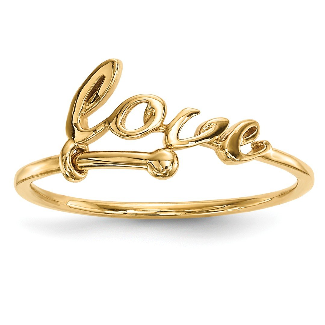 ICE CARATS 14k Yellow Gold Love Band Ring Size 7.00 S/love Fine Jewelry Gift Set For Women Heart