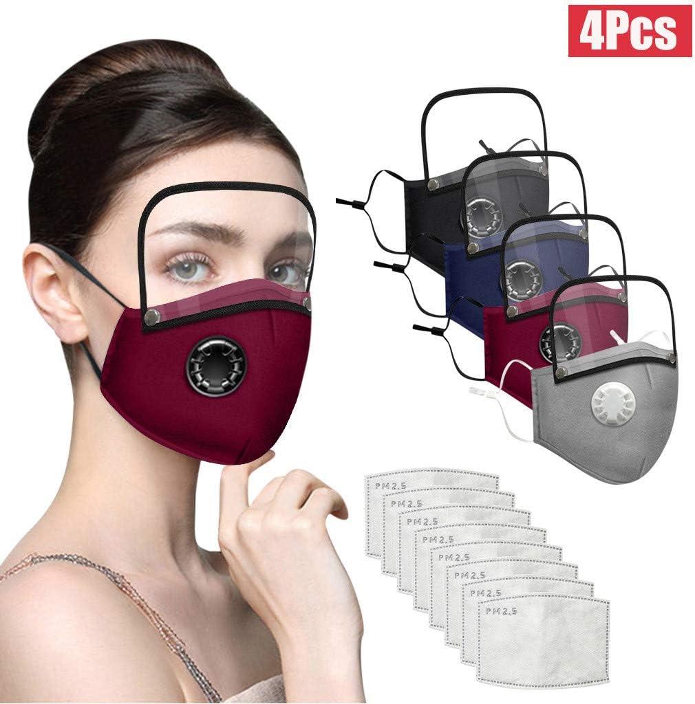 MAOIMOR Adulto de Algodón de Lavable y Reutilizable Tela Gafas Protectoras Visera con Filtros Válvula