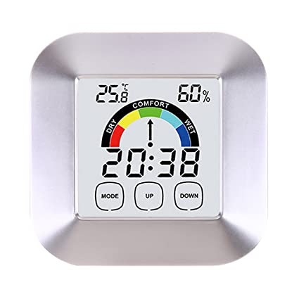 Onepeak Pantalla táctil Termómetro digital higrómetro Reloj despertador Inicio Mesa interior Índice de confort Pantalla Temperatura