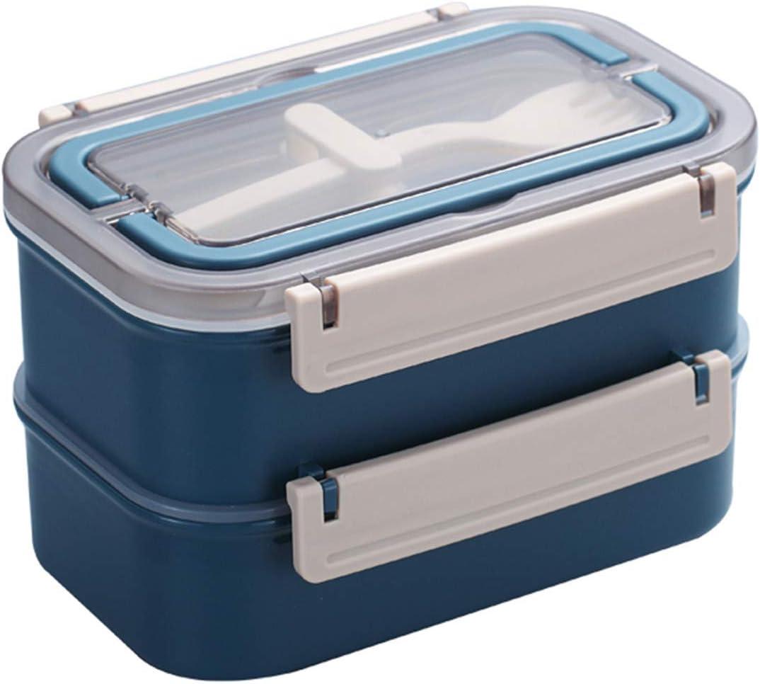 Fiambrera Melisen – Práctica caja Bento con recipiente de acero inoxidable de doble capa para el desayuno, cubertería para escuela, trabajo, picnic, viajes, Nordic Denim