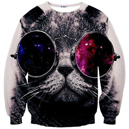 RXBC2011 Men's Glasses Cat 3D Print Crewneck Pullover Sweater L White