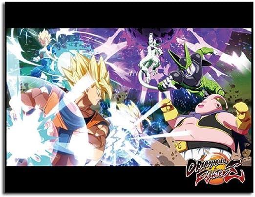 Dragon Ball Fighterz Key Art Goku Vegeta Frieza Buu Throw Blanket 46 X 60