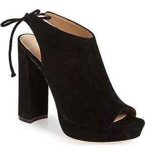 c418f5a4a566c Pour La Victoire Women s Yanna Black Suede Blocked Heel Platform Peep Toe  Lace Up Bootie