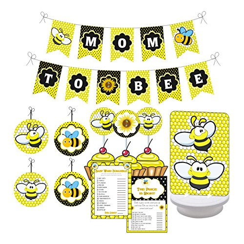 Mom to Bee Baby Shower Party. Boy/Girl Baby Shower Party Decorations. Includes Party Games, Centerpieces, Bunting Banner, Danglers and Cupcake Toppers. (Yellow, Black)