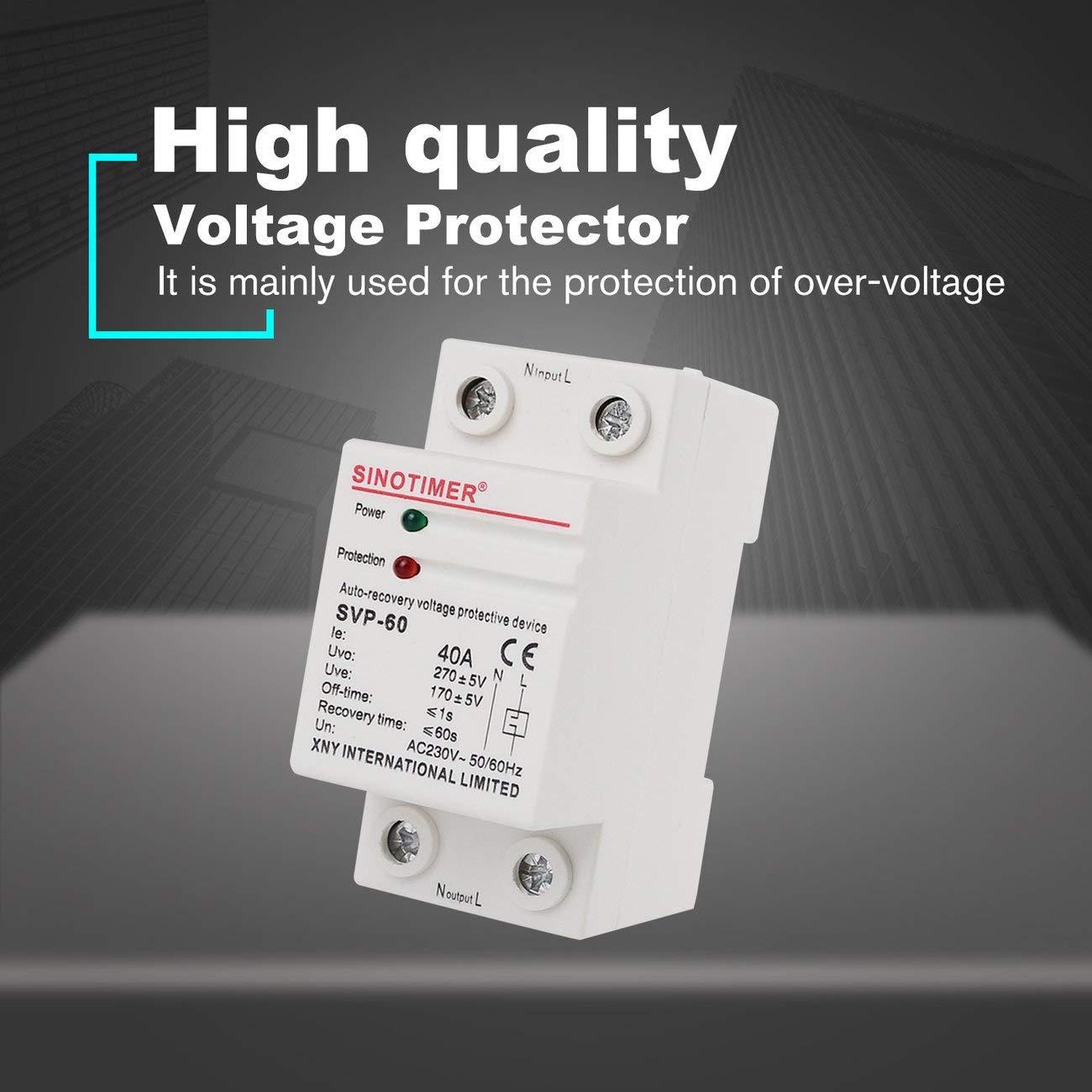 JIUY SINOTIMER SVP-60 230V CA 40A dispositivo de recuperaci/ón autom/ática de Bajo Voltaje Sobre el voltaje protector del rel/é del interruptor de protecci/ón blanco