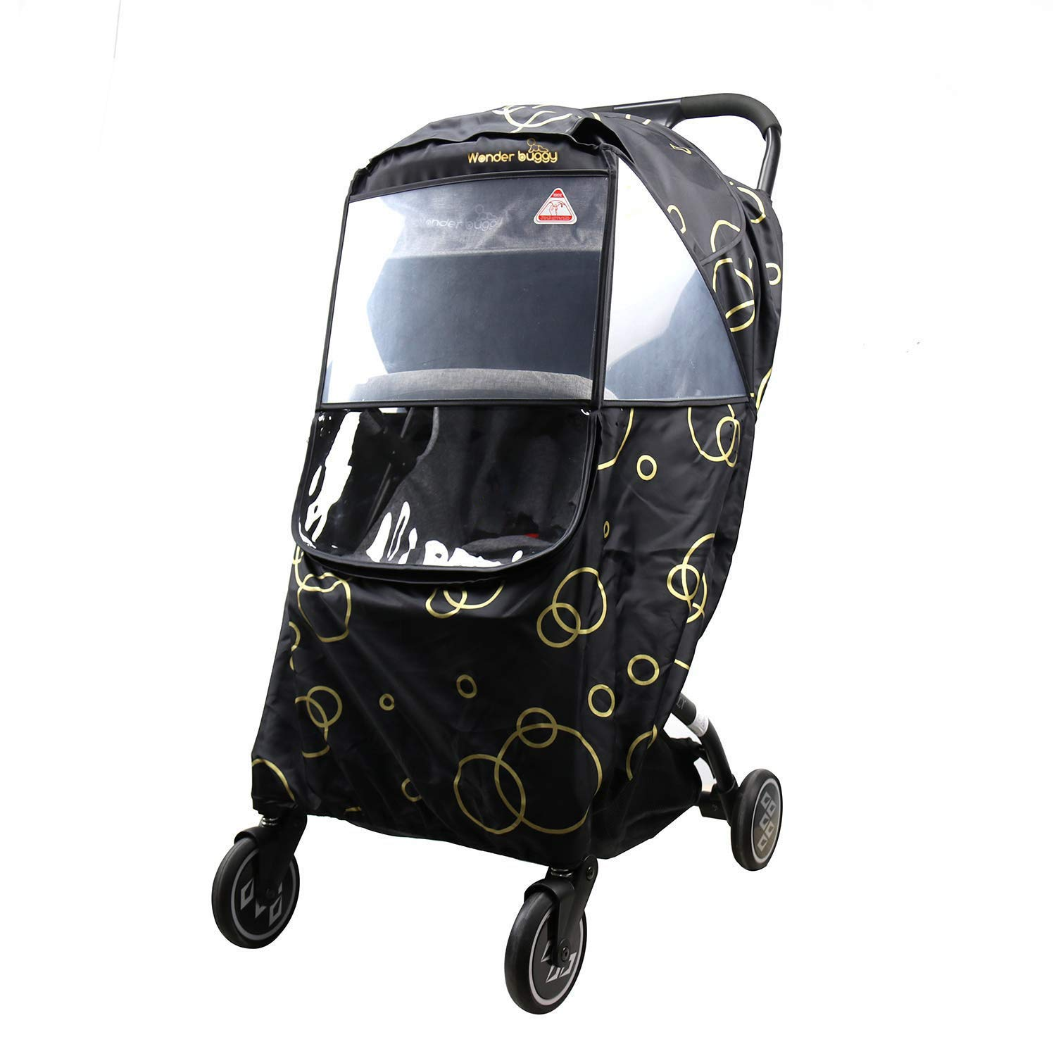 Wonder buggy Universal Stroller Weather Shield Rain Cover with Bubble,Waterproof, Windproof Protection, Travel-Friendly, Outdoor Use, Easy to Install and Remove (Black) by Wonder buggy