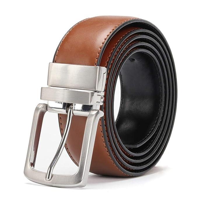 Bridfa CinturóN De Cuero Genuino De Los Hombres Reversible Para Los  Pantalones Vaqueros Hebilla Giratoria Vestir Cinturones Cuero Piel Vaca Para  Negro  ... e6973d2909b3