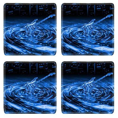 MSD Natural Rubber Square Coasters Set of 4 IMAGE of blue background abstract water wave liquid illustration texture wallpaper rain splash drop nature reflection ripple