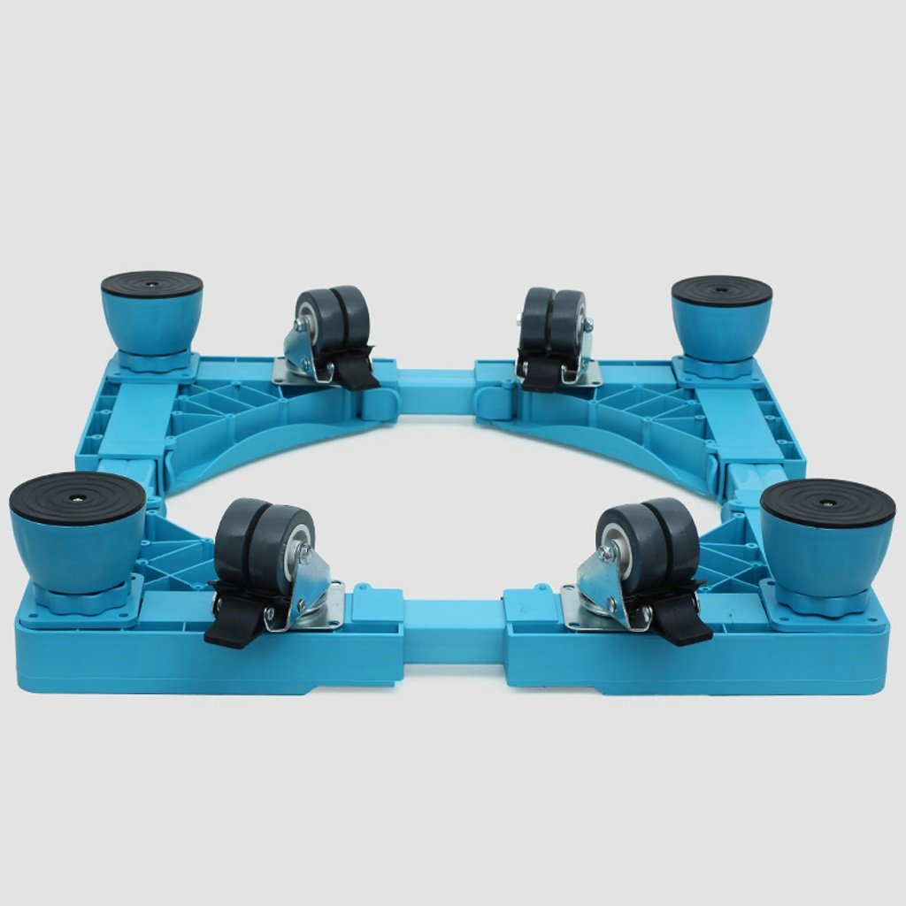 Color Washing Machine Base Steel Profiles Heightening with Pulley with Brake Bracket Fridge Stand -Casters (Color : Blue, Size : A)