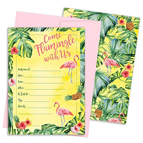 Flamingo Pineapple Party Invitation Cards with Envelopes, 25 (Flamingo Invitations)