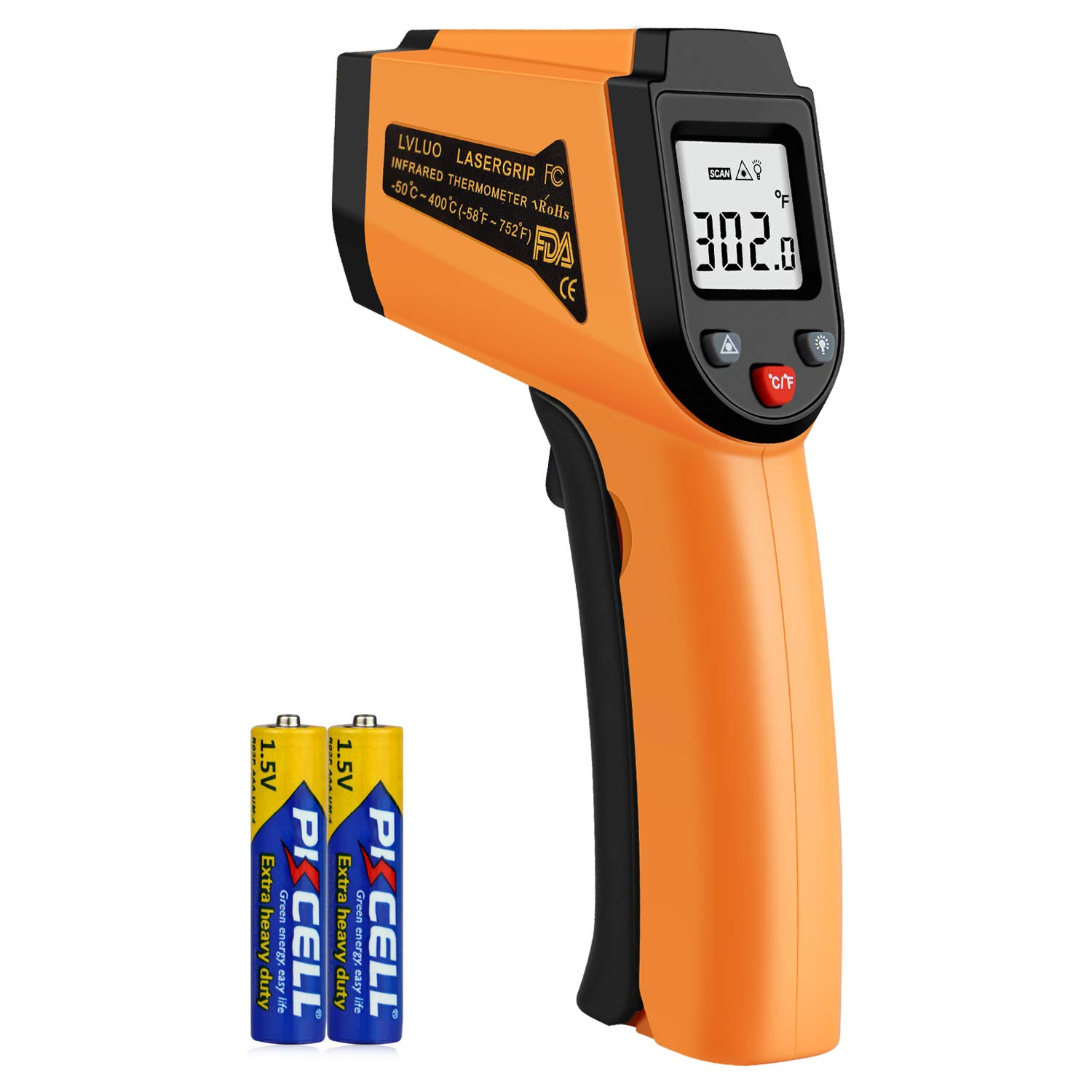 Non-Contact Digital Laser Grip Infrared Thermometer Temperature Gun -58℉~ 752℉ (-50℃ ~ 400℃), Digital Instant Read Meat Thermometer Kitchen Cooking Food Candy Thermometer for Oil Deep Fry BBQ by YIHANGQICHE