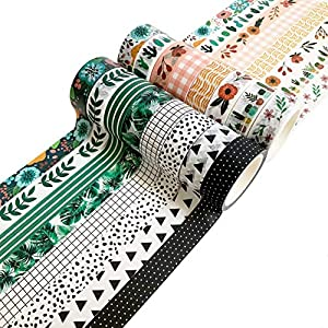 Washi Tape Set, 16 Rolls of 15 mm Wide Decorative Colored Tape for Scrapbooking, Bullet Journals, Planners, DIY Decor and Craft Supplies from Carousel Greetings