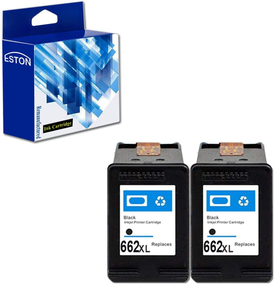 ESTON 662XL Black Remanufactured Replacement for HP 662XL 662 XL Ink Cartridges Used for HP Deskjet Ink Advantage 1015 1515 2515 2545 2645 3515 3545 4645 (2-Black)