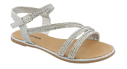 509d90ca469996 Top Moda LEIANA-1 Ankle Strap Flat Sandal with Rhinestones (10 M US Toddler