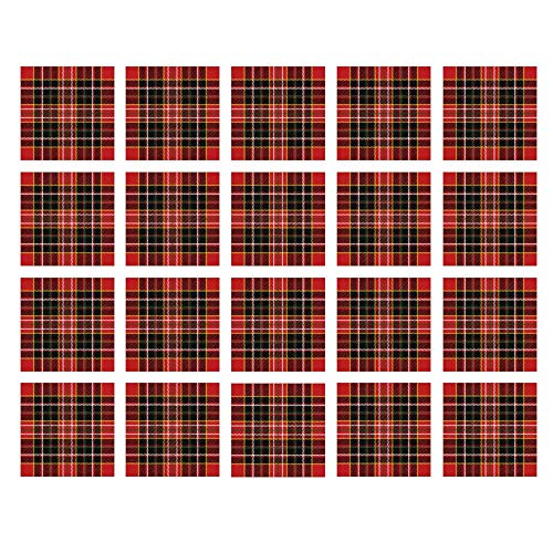 YOLIYANA Red Plaid Waterproof Ceramic Tile Stickers,Vertical and Horizontal Lines Tartan Backdrop Scottish Culture Inspired Pattern Decorative for Kitchen Living Room,One -