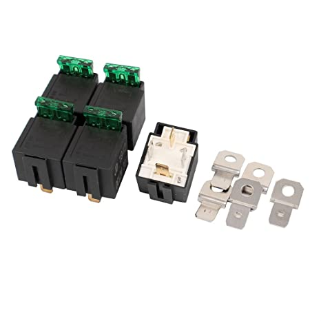 uxcell DC 12V 30A 4 Pins 1No Contact Type Vehicle Car Fuse Relay Fused Switch 5pcs