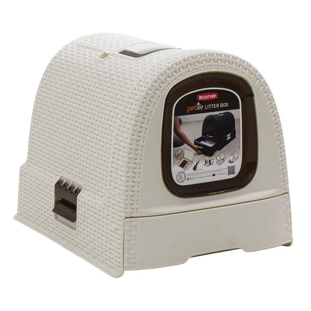 Curver Petlife Style- Hooded Litter Box- Scoop + Filter- Creme-White, Large by Curver Petlife