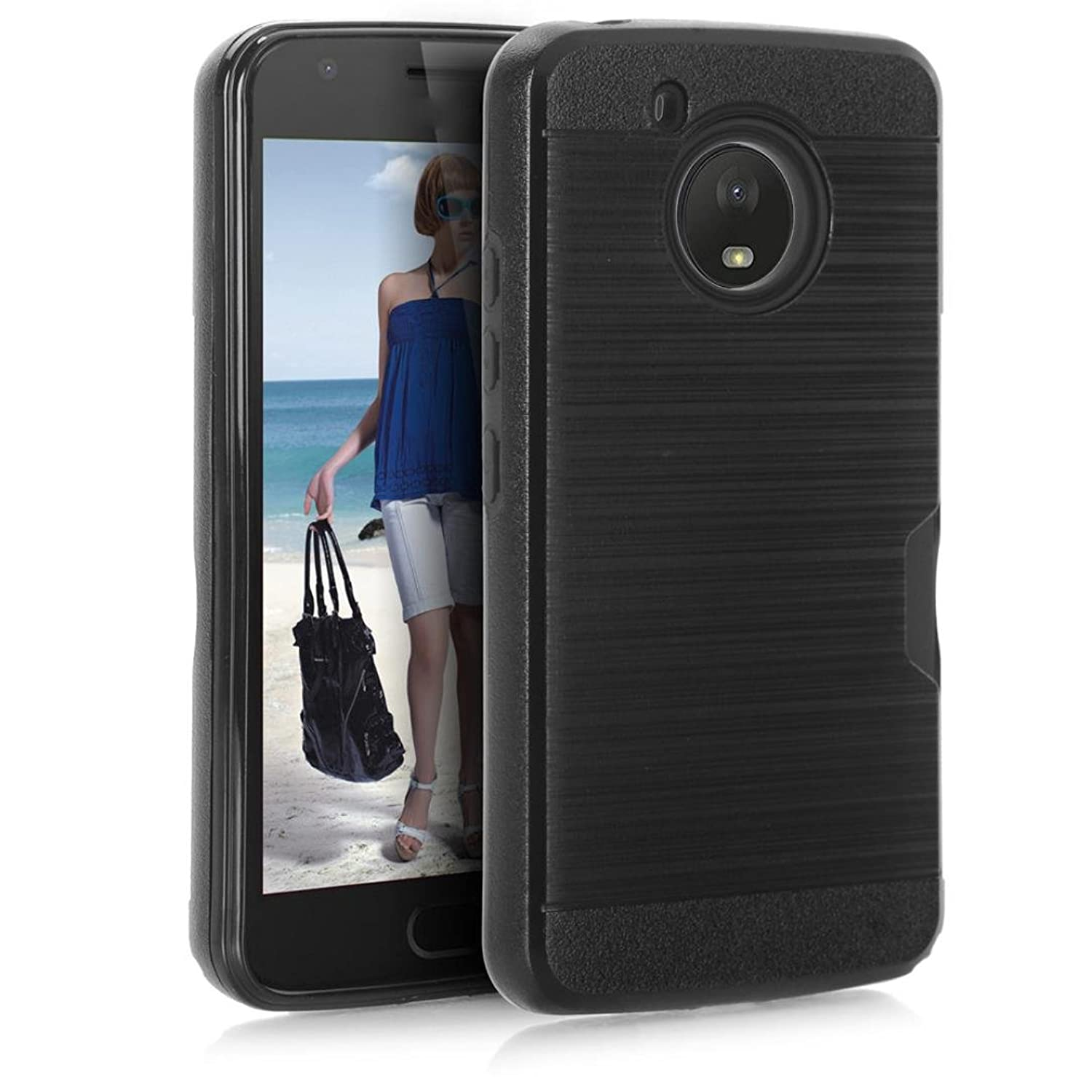 Slim PC+TPU Shockproof Case Cover With Card Pocket Holder For Motorola Moto E4 2017/E (4th Gen.)