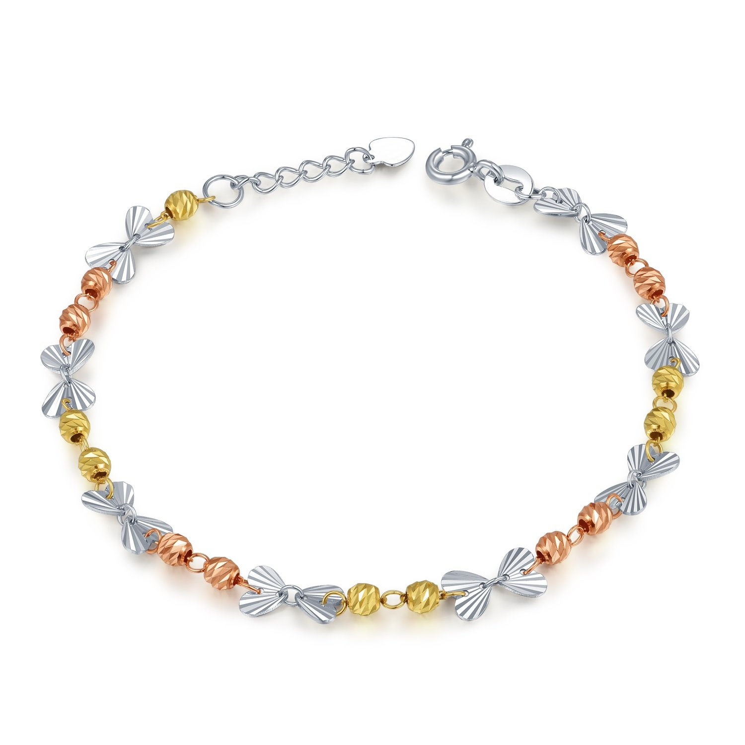 MaBelle 14K Tri-Color Gold Heart Butterfly with Rose and Yellow Twin Beads Linked Bracelet (6.5'')