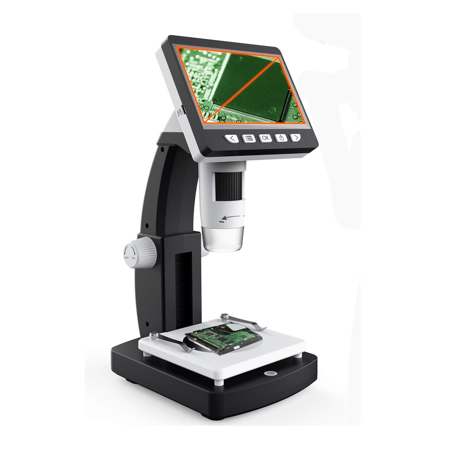 LCD Digital Microscope, YINAMA 4.3 inch 50X-1000X Magnification Zoom 1080P 2.0 Megapixels Camera