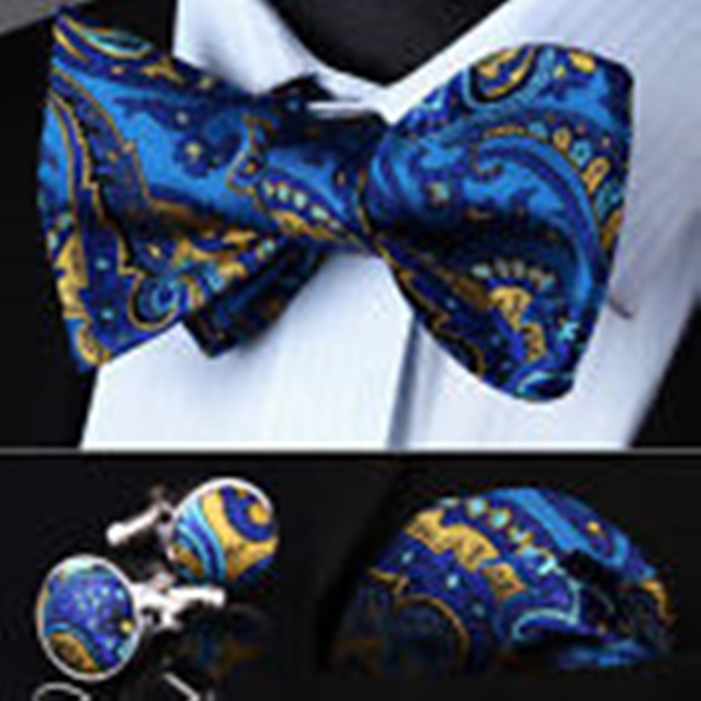 Mondaily DL12B Blue Yellow Paisley Men Silk Self Bow Tie handkerchief Cufflinks set #PPTE4370
