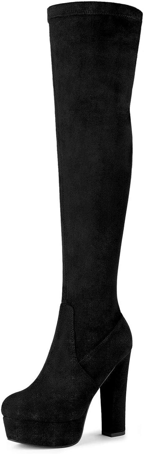 Allegra K Botas De Tac/ón Alto De Bloque sobre La Rodilla con Plataforma para Mujer