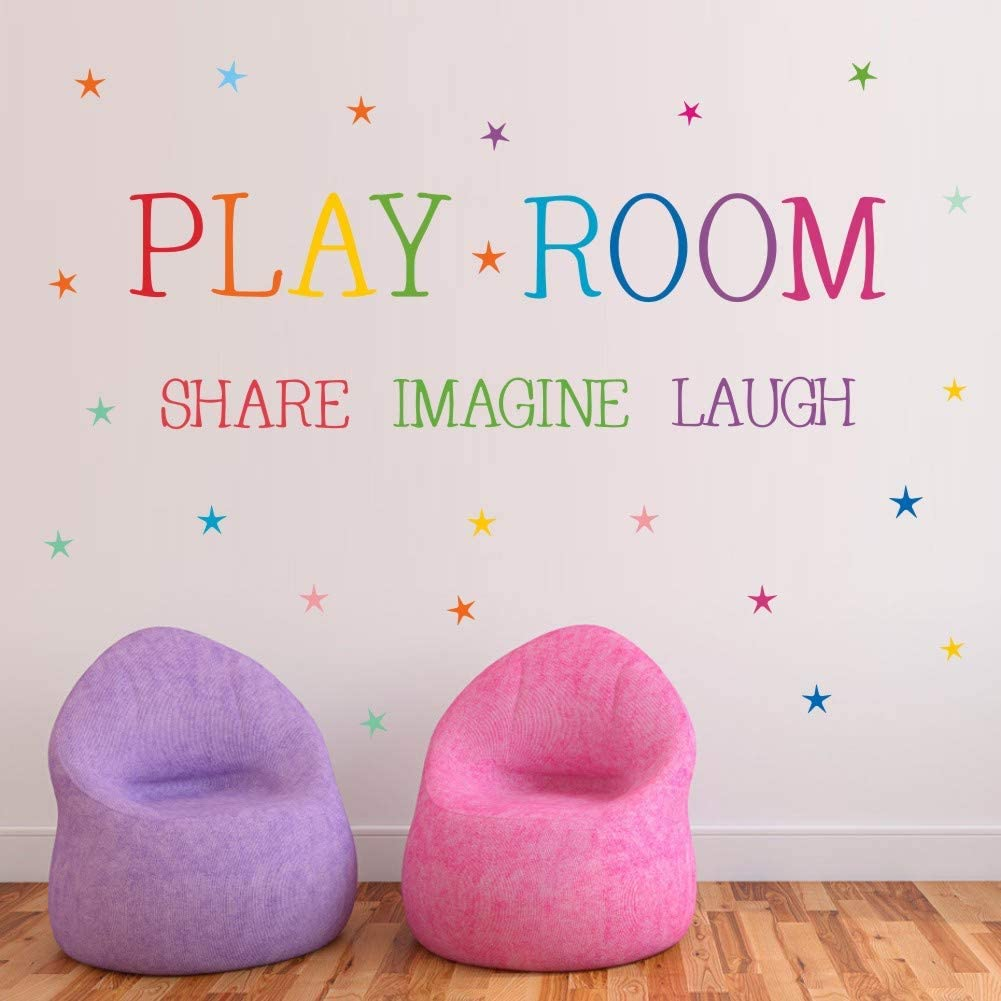 TOARTi Playroom Share Imagine Laugh Wall Decal, Colorful Inspirational Lettering Quote with Stars Wall Sticker for Classroom Playroom Decoration