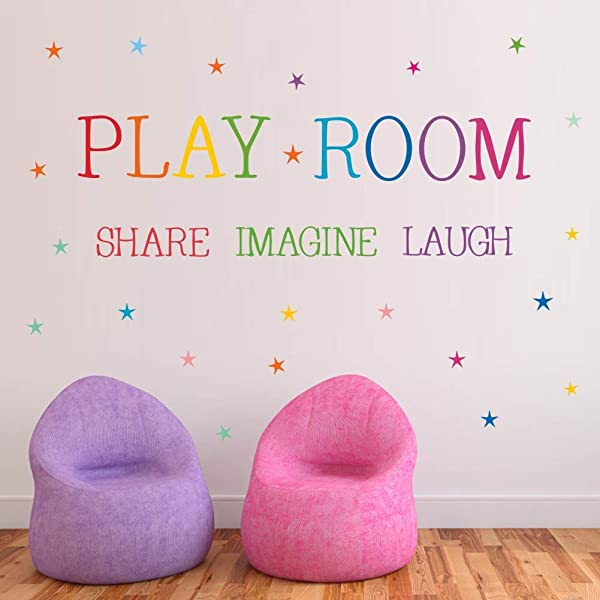 Playroom Share Imagine Laugh Quotes Wall Sticker Kids Quote Wall Decals DIY...