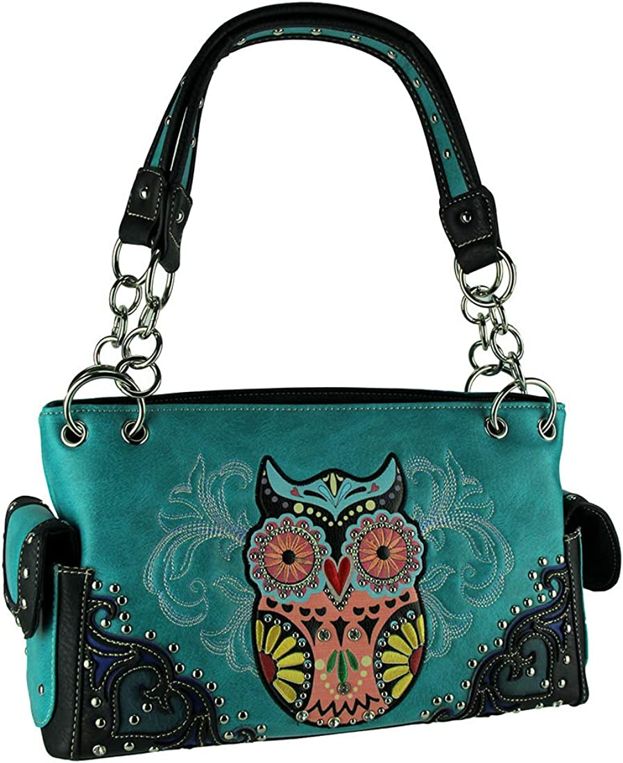Sugar Skulls and Flowers Studded Concealed Carry Crossbody Purse