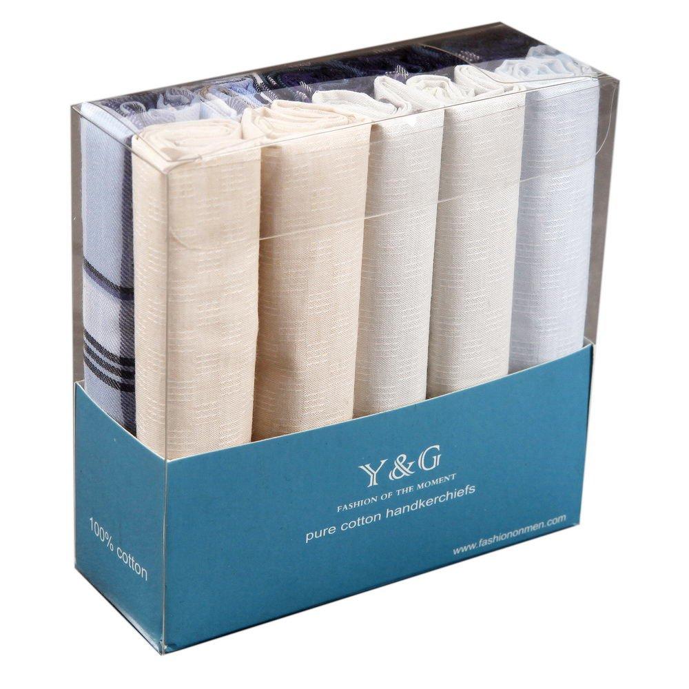 MH1069 Handsome Store Ten Hankies Set With Presentation Box Set Beige Blue Handkerchief Husband Presents By Y&G