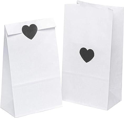 carta kraft 24 sacchetti regalo in carta kraft di alta qualit/à Sacchetto di cortesia Busta in carta con adesivi ideale per il matrimonio o il compleanno   24 borse, 24 adesivi