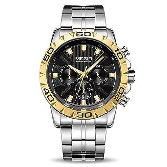 3b6f9ebce9c6 MEGIR Men's Business Work Analogue Quartz Wrist Watch with Stainless Steel  Band Black Face Calendar Stopwatch