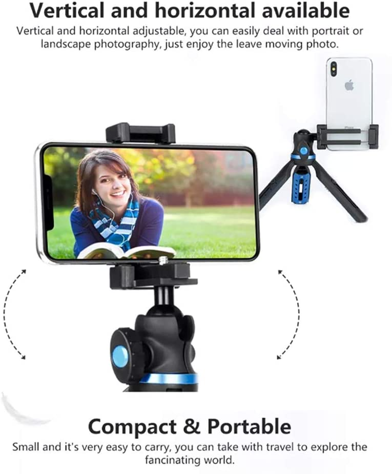 Color : Black, Size : One Size Gohbqany-3C Tripod Extendable Portable Mini Desktop Tripod 2 in 1 Phone Holder Mount Tripod for DSLR Camera Smart Phone