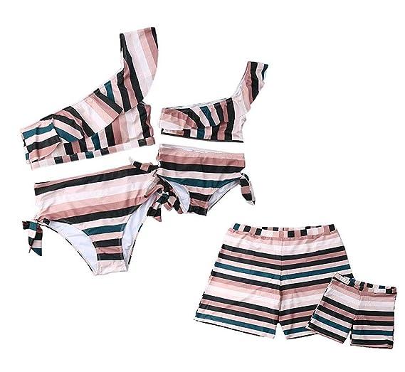 2019 Family Matching Swimwear Parents Kids Bathing Suit Women Girls Halter Bikini Men Boys Banana Trunks Swimsuit Beachwear Functional Bags