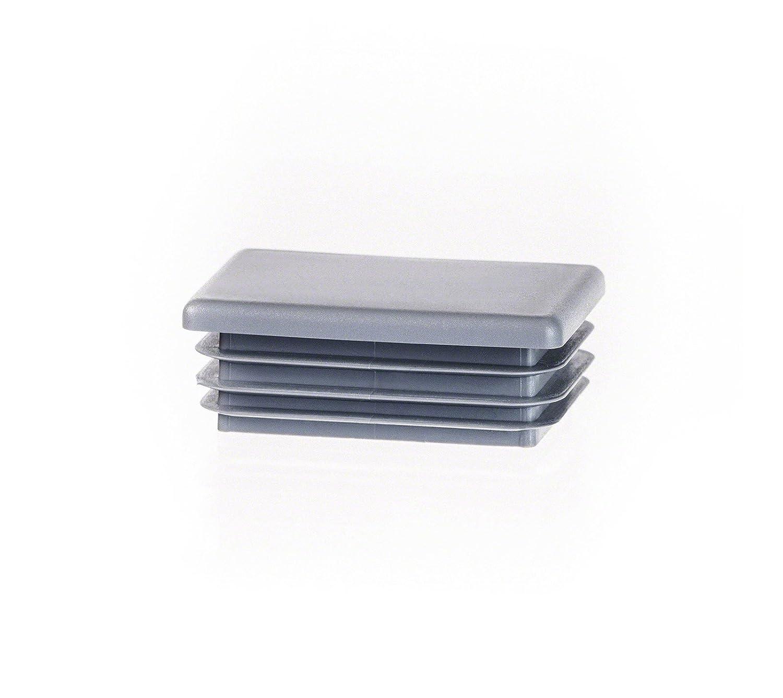 1 Stck. bouchon pour tube rectangulaire 20x10 gris plastique Embout bouchons d'obturation