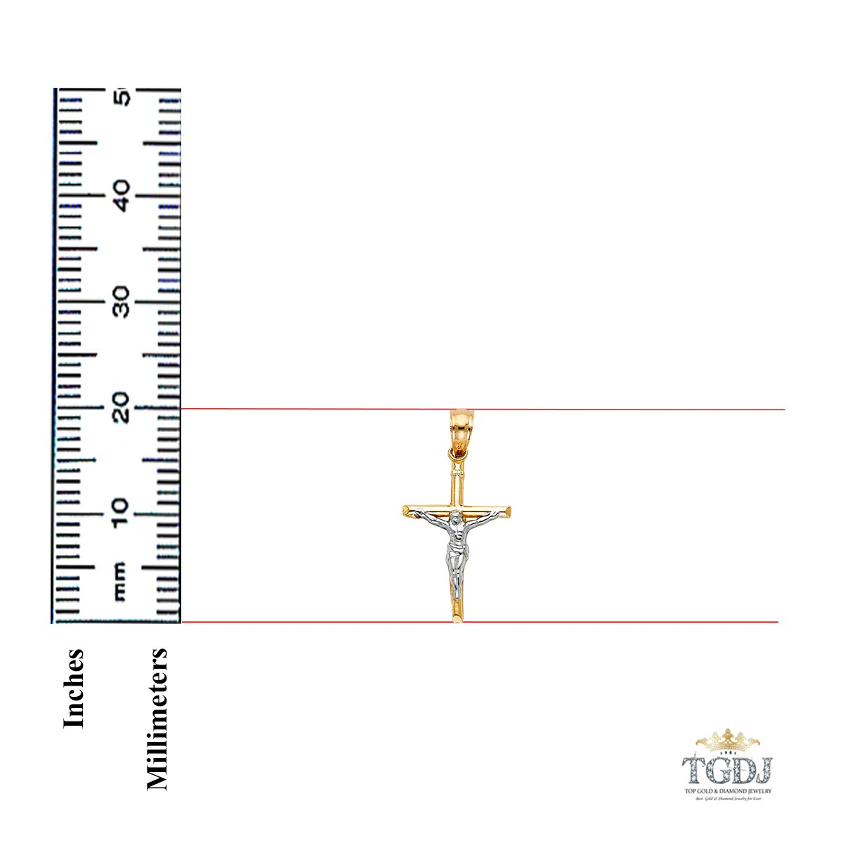 Height 20 MM Width 13 MM 14k Yellow White Gold Jesus Crucifix Cross Religious Pendant