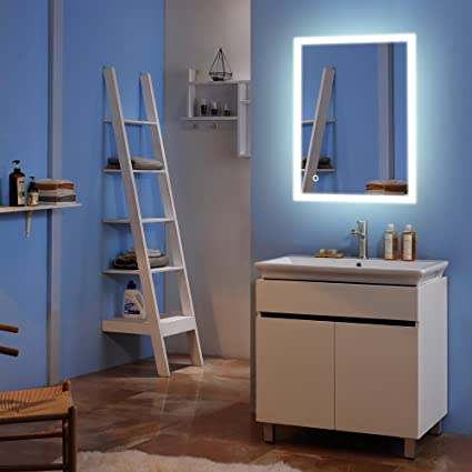 bonnlo 36 x 28 led bathroom mirror with edge lit lighted frameless wall - Bathroom Mirror With Lights