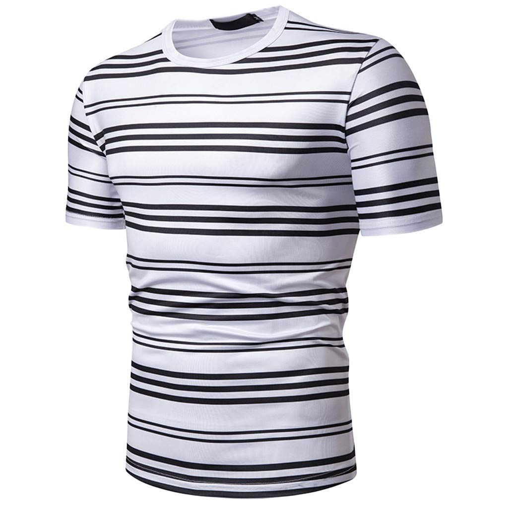 STORTO Mens Vintage-Style Striped Tee Shirts Short Sleeve Crew Neck Fashion Soft Casual Tops