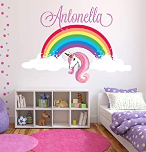 Unicorn Wall Decal Art Custom Name Wall Decals Girls Bedroom Nursery Rainbow Wall Decor Removable Vinyl Wall Stickers ND19 (24