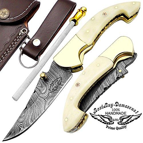 Camel Bone 7.5″ Custom Handmade Damascus Steel Brass Bloster Lock Folding Pocket Knife 100% Prime Quality with Sharpening Rod