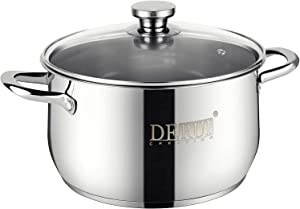 Stock Pot with Lids,DERUI CREATION 3 Quart Stainless Steel Stockpots for Cooking Soup Pots